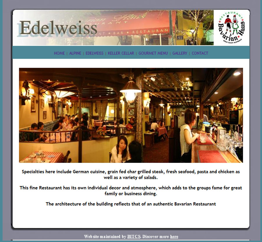 Bavarian Haus Website Before