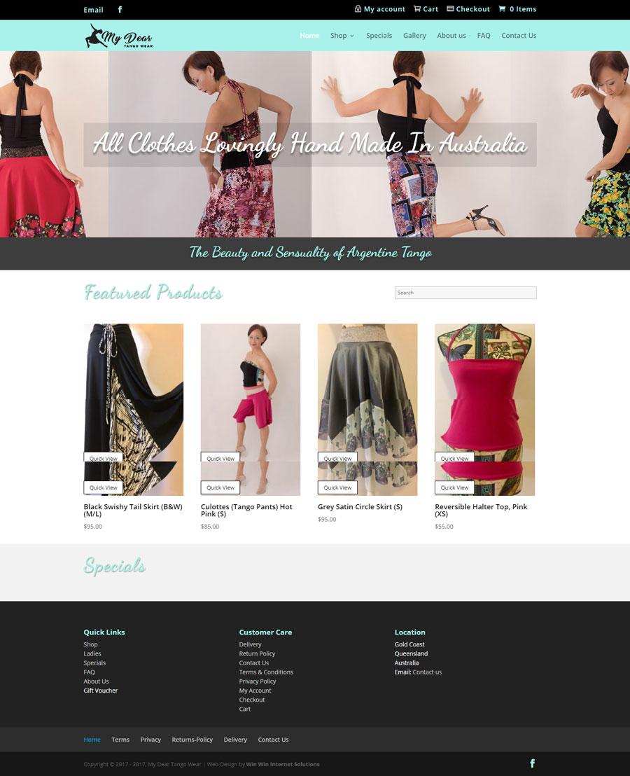 My Dear Tango Wear Website Build