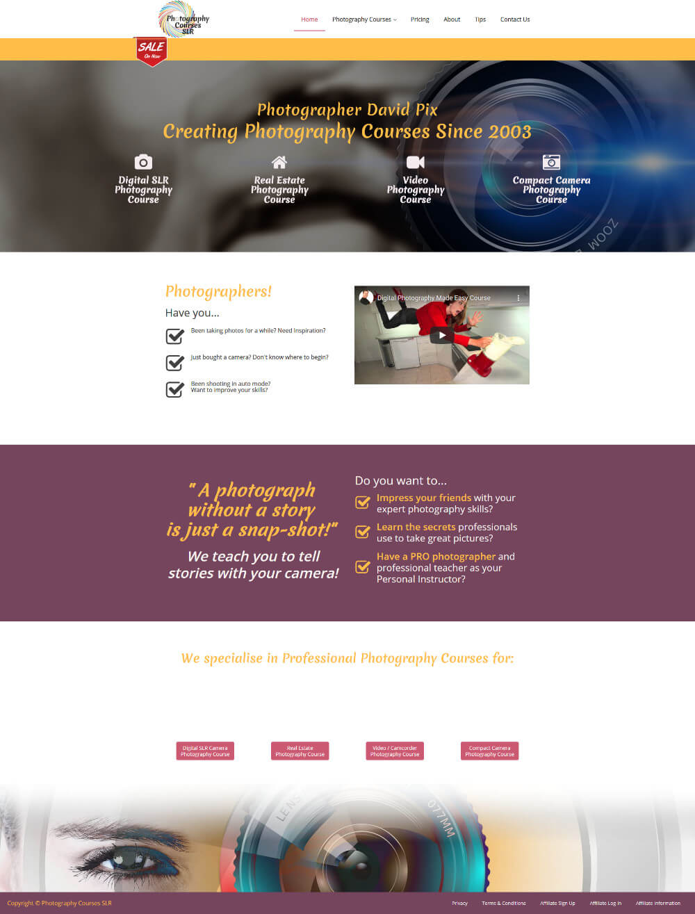 Photography courses Website Project mockup
